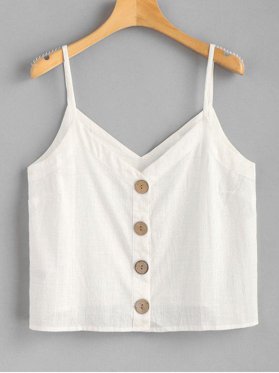 women Button Up Woven Cami Top - MILK WHITE L