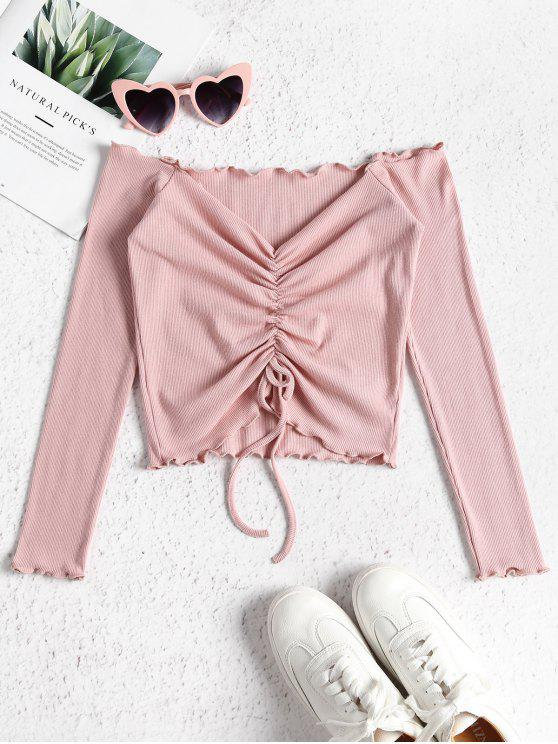 trendy Gathered Off Shoulder Top - FLAMINGO PINK S