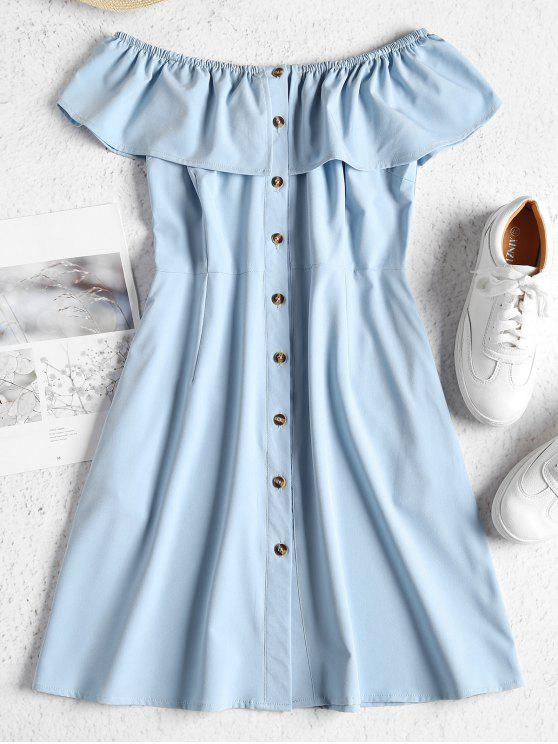 affordable Off Shoulder Button Up Mini Dress - BABY BLUE M