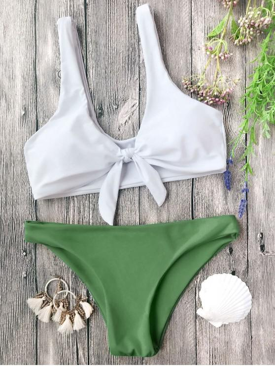 women's Padded Knotted Bralette Bikini Set - WHITE AND GREEN S
