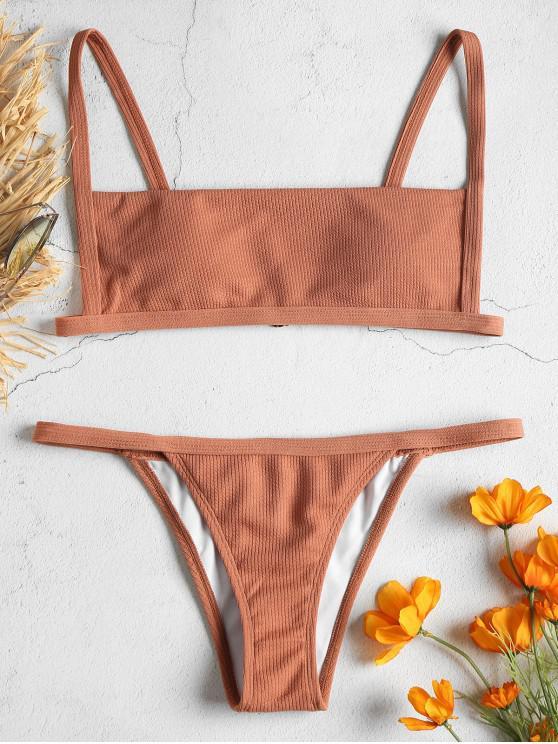 shop Ribbed Hook String Bikini Set - ORANGE SALMON S