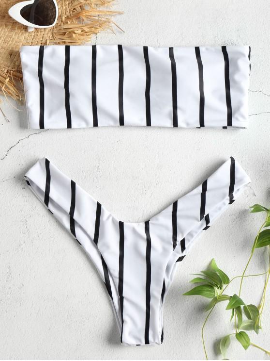 Hohe Schlitz Bandeau Streifen Bikini Set - Weiß M