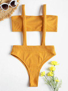 Ribbed Bandeau Suspender Two Piece Bikini Swimsuit - Bee Yellow M