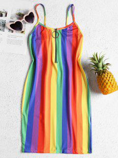 Rainbow Stripe Jersey Cami Mini Dress - Multi L
