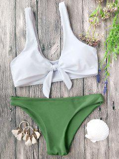 Gepolsterte Knoten Bralette Bikini Set - Weiß Und Grün M