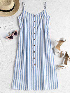 Striped Button Front Cami Midi Dress - Sky Blue L