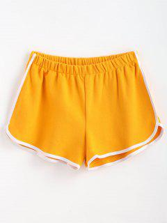 Piping Terry Dolphin Shorts - Mustard M