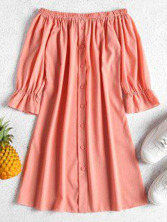 Buttons Off Shoulder Casual Dress - Orange Pink S