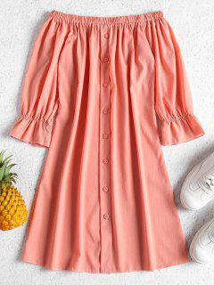 Buttons Off Shoulder Casual Dress - Orange Pink M