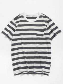 Pocket Striped Split Hem T-shirt - Gray L