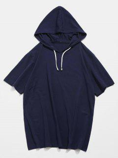 Drawstring Short Sleeve Hooded T-shirt - Deep Blue M