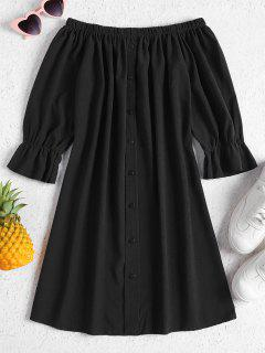 Buttons Off Shoulder Casual Dress - Black M