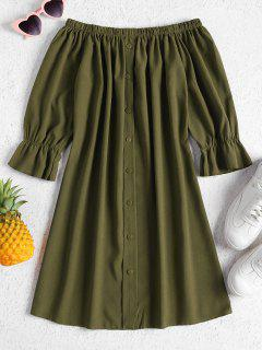 Buttons Off Shoulder Casual Dress - Army Green M