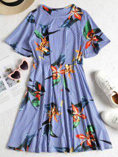 Floral Stripe Print Tie Side A Line Dress - Blue L