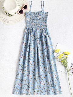 Robe Cami Smockée à Fleurs - Bleu Clair