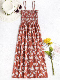 Floral Smocked Cami Dress - Orange Salmon