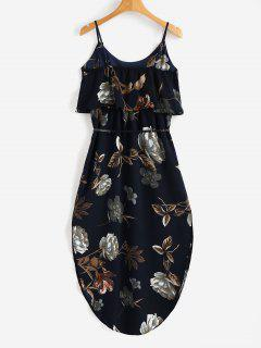 Overlay Slit Floral Dress - Dark Slate Blue L