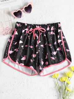 Drawstring Flamingo Shorts - Black S