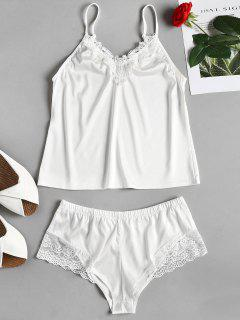 Cami Top And Tap Shorts Satin Pajama Set - White M