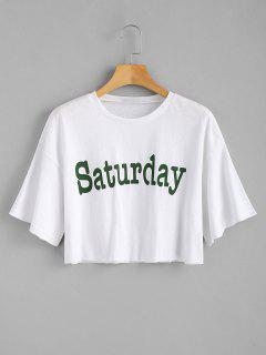 Crop Saturday Tee - White S
