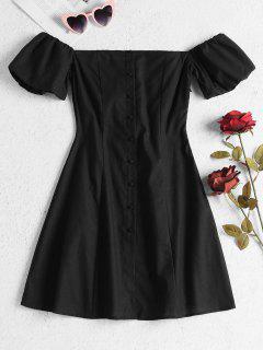 Mini-robe Noire Boutonnée à Epaules Dénudées  - Noir Naturel L