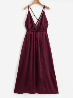 Satin Criss Cross Maxi Dress - Red Wine M