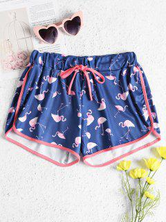 Drawstring Flamingo Shorts - Earth Blue M