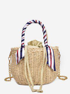 Metal Chain Scarf Leisure Vacation Straw Tote Bag - Beige