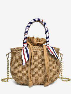 Metal Chain Scarf Leisure Vacation Straw Tote Bag - Light Khaki