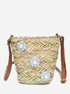 Straw Casual Outdoor Trip Flower Crossbody Bag - Blue Gray