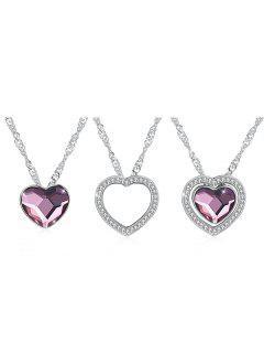 Vintage Faux Gem Heart Pendant Necklace - Pale Violet Red