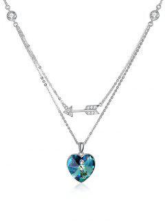 Collier Avec Pendentifs Flèche En Strass Et Cœur En Cristal  - Méduse