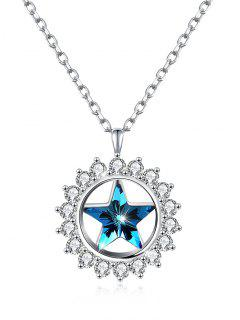 Rhinestone Inlaid Crystal Star Pendant Necklace - Windows Blue