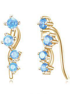 Boucles D'Oreilles Incrustées De Cristal Brillants Style Unique  - Bleu De Ciel