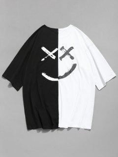 Smile Face Contraste Empalme Camiseta - Blanco 2xl