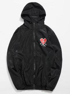 Heart Printed Waterproof Lightweight Jacket - Black L