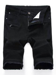 Pleated Zippers Frayed Hem Denim Shorts - Black 32