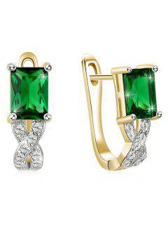 Rhinestone Faux Emerald Inlaid Latch Back Earrings - Shamrock Green