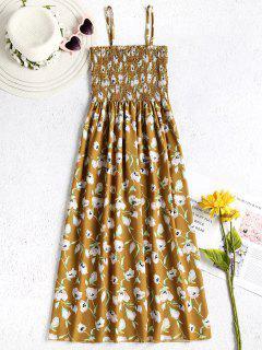 Blumen Smocked Cami Kleid - Orange Gold