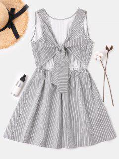 Tie Front Striped Dress - Black L