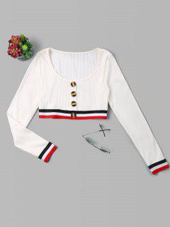 Buttons Stripes Patched Crop Tee - White L
