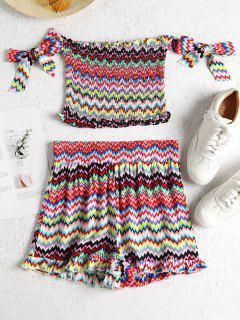 Zig Zag Knotted Smocked Shorts Set - Multi S