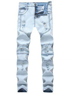 Spliced Design Ripped Slim Fit Biker Jeans - Denim Blue 36