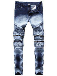 Knee Stars Zipper Biker Skinny Jeans - Dark Slate Blue 32