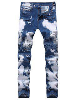 Hook Button Paint Splatter Print Biker Jeans - Deep Blue 34