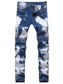 Hook Button Paint Splatter Print Biker Jeans - Deep Blue 42