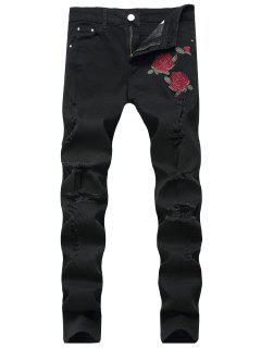 Flowers Embroidery Ripped Jeans - Black 32