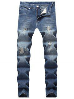 Washed Ripped Scratch Straight Jeans - Deep Blue 34