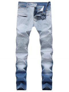 Hook Button Zippers Biker Jeans - Jeans Blue 40