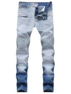 Hook Button Zippers Biker Jeans - Jeans Blue 42